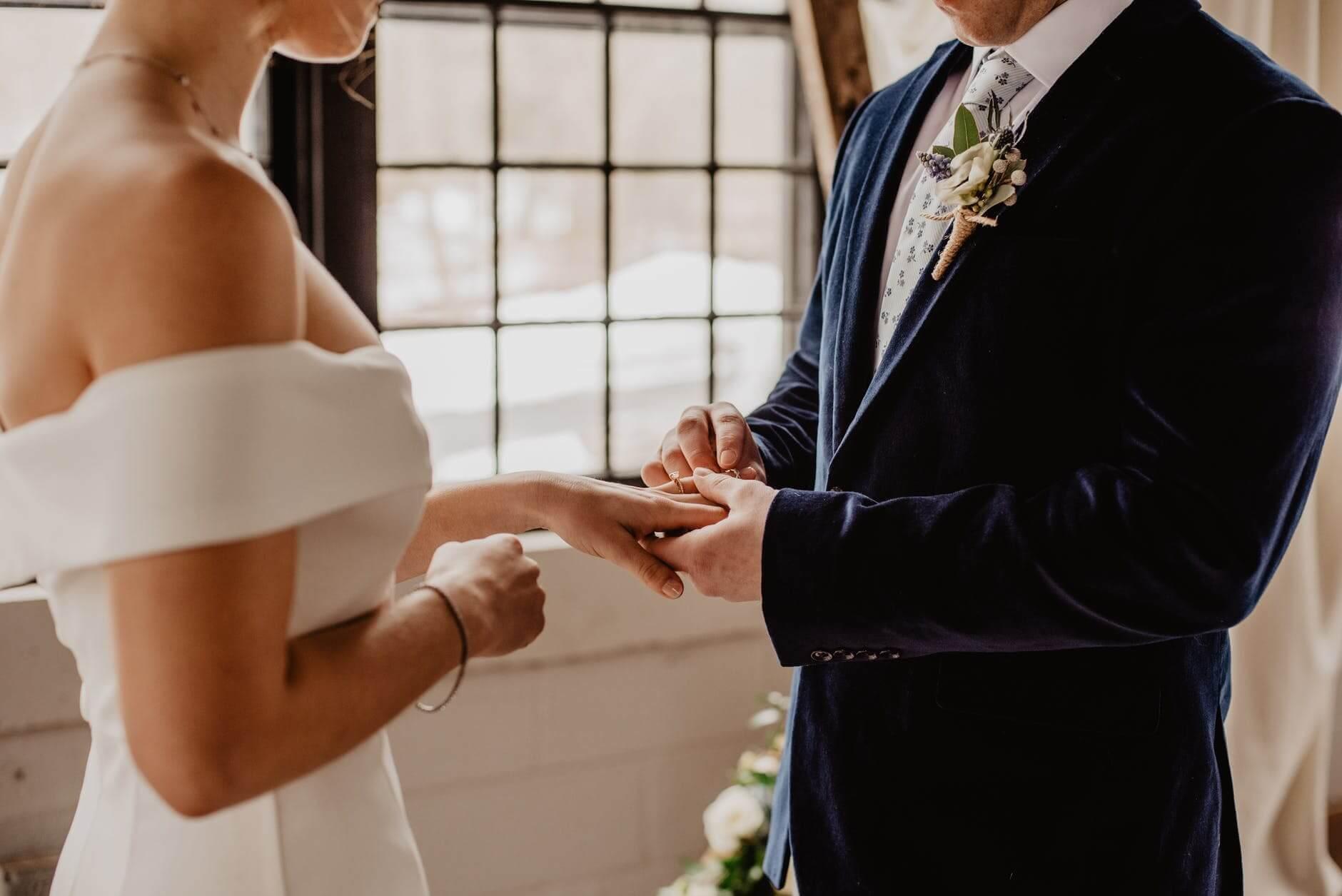 putting ring on finger wedding ceremony