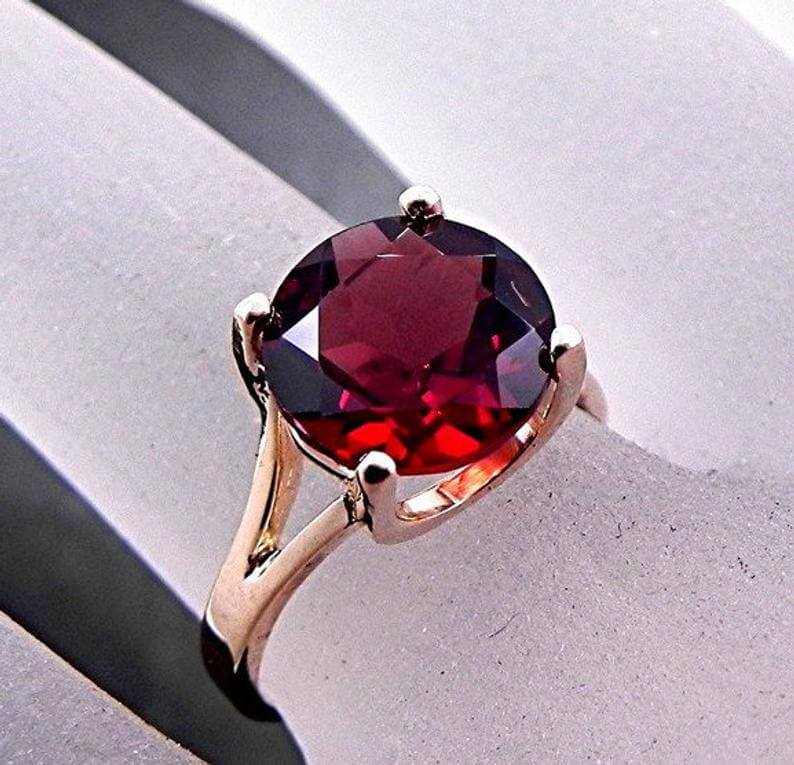 Deep red ruby ring