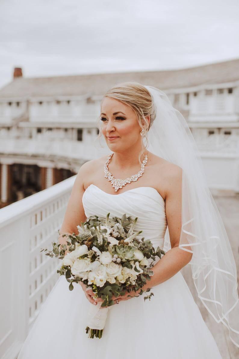 strapless wedding dress statement-bib-necklace