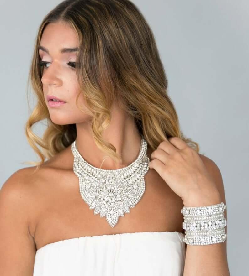 statement necklace with strapless wedding dress