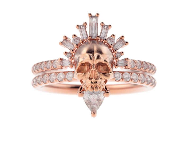 Stunning large skull diamond ring