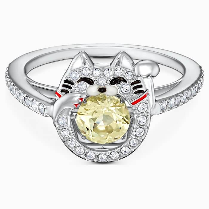 Swarovski sparkling dance cat ring