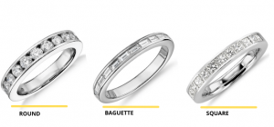 Types of stone shapes for channel ring setting