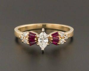 Vintage ruby-diamond ring