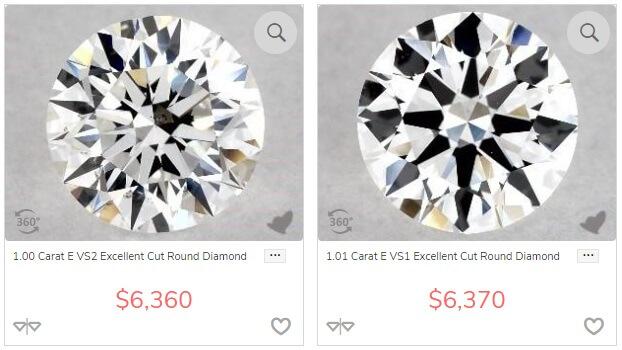 vs1 vs vs2 diamond comparison