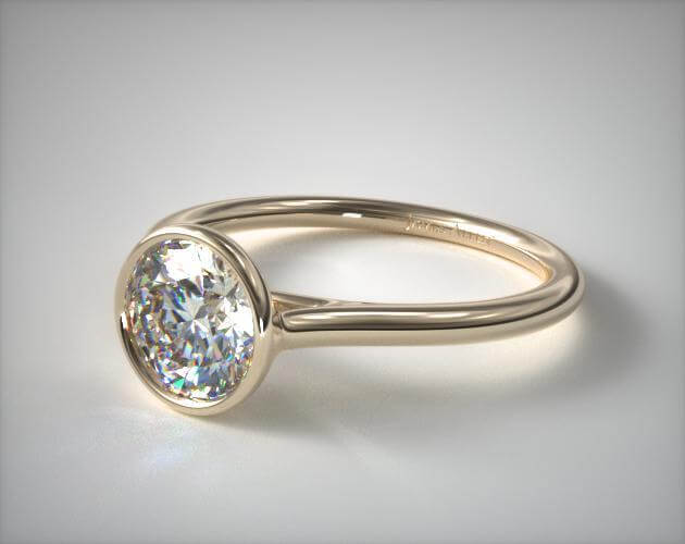 Bezel setting engagement ring