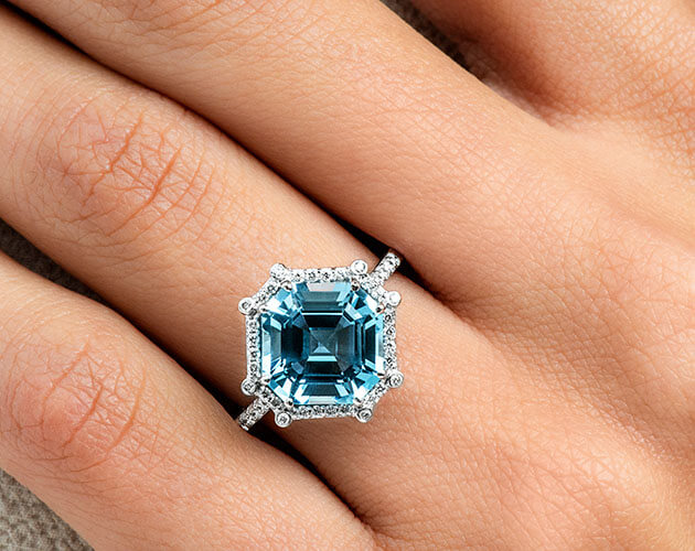 Blue topaz ring for November Birthstone