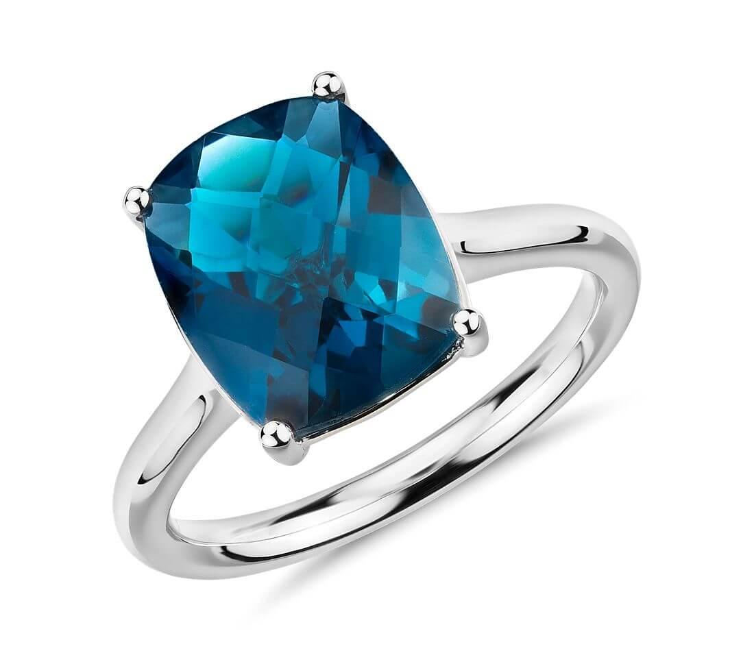 Blue topaz ring November birthstone