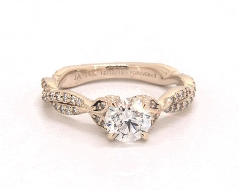 D color diamond engagement ring yellow gold