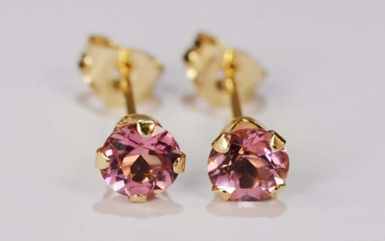 Faceted pink tourmaline earrings