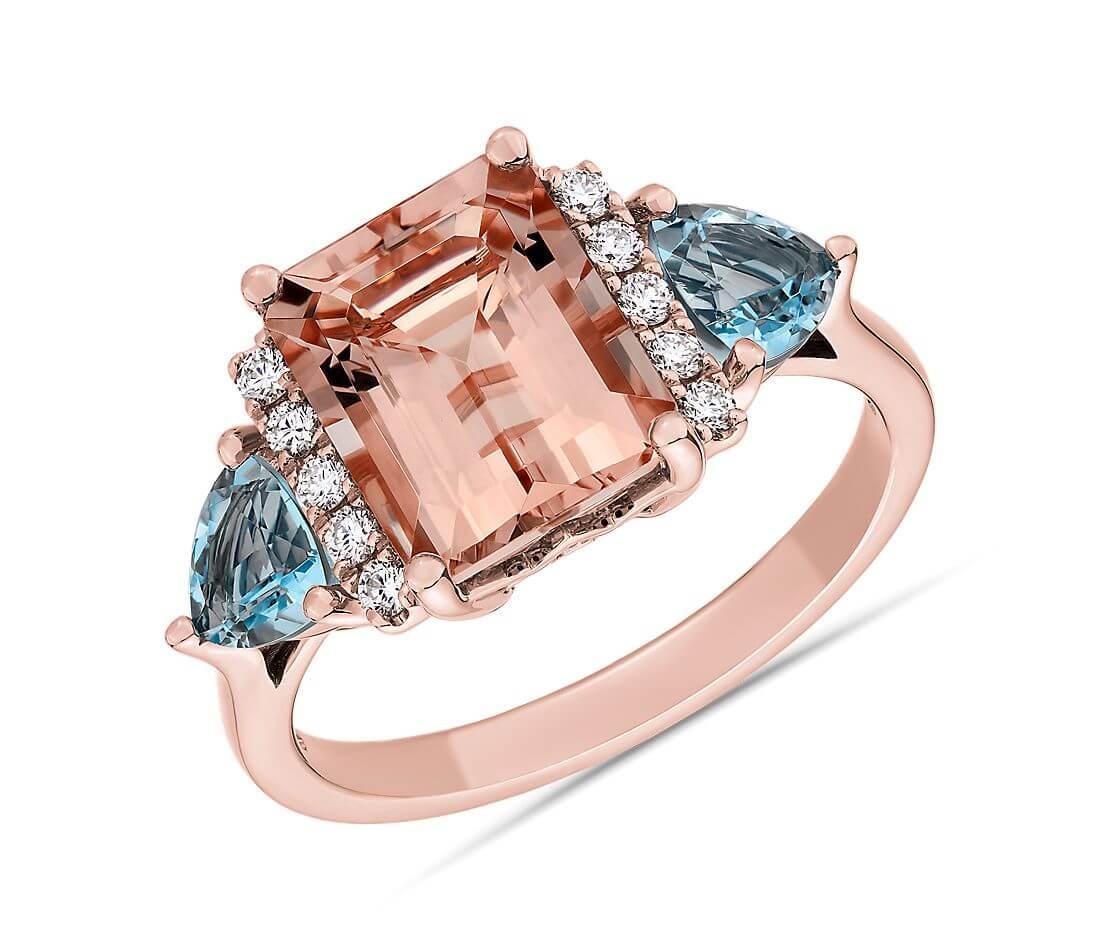 Morganite ring with aquamarine