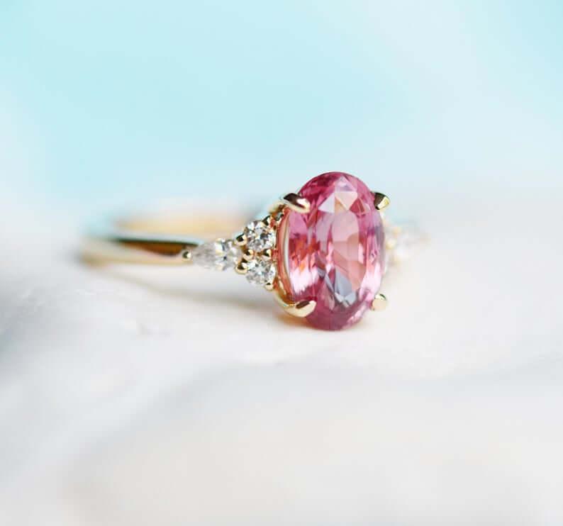 Padparadscha sapphire ring