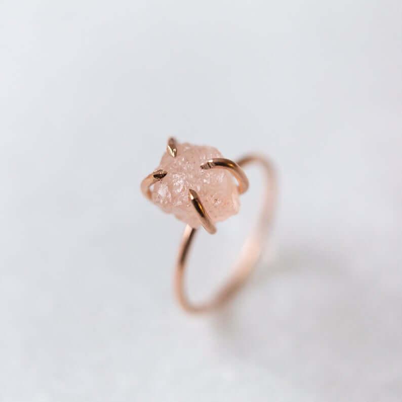 Raw Morganite ring