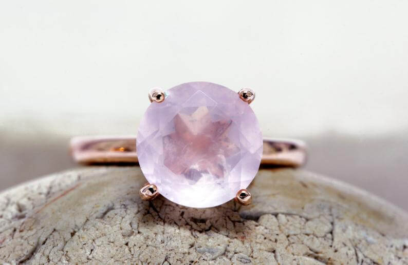 Rose quartz ring solitaire