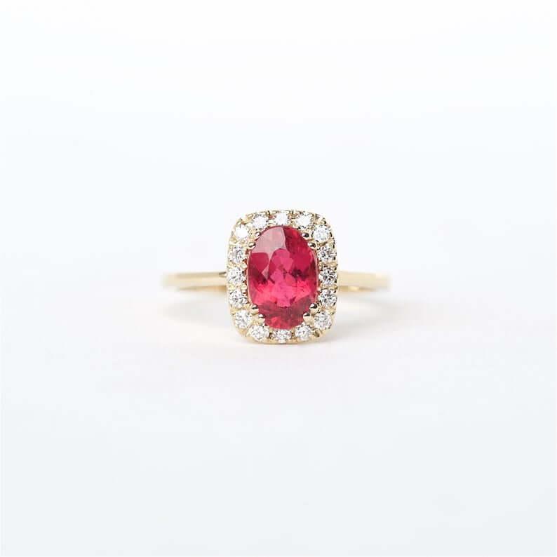 Rubellite engagement ring