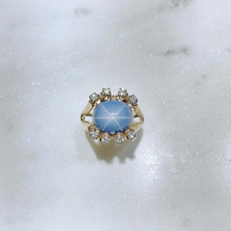 Star blue sapphire ring