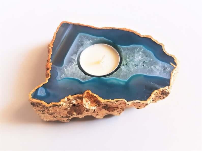 Agate candleholder
