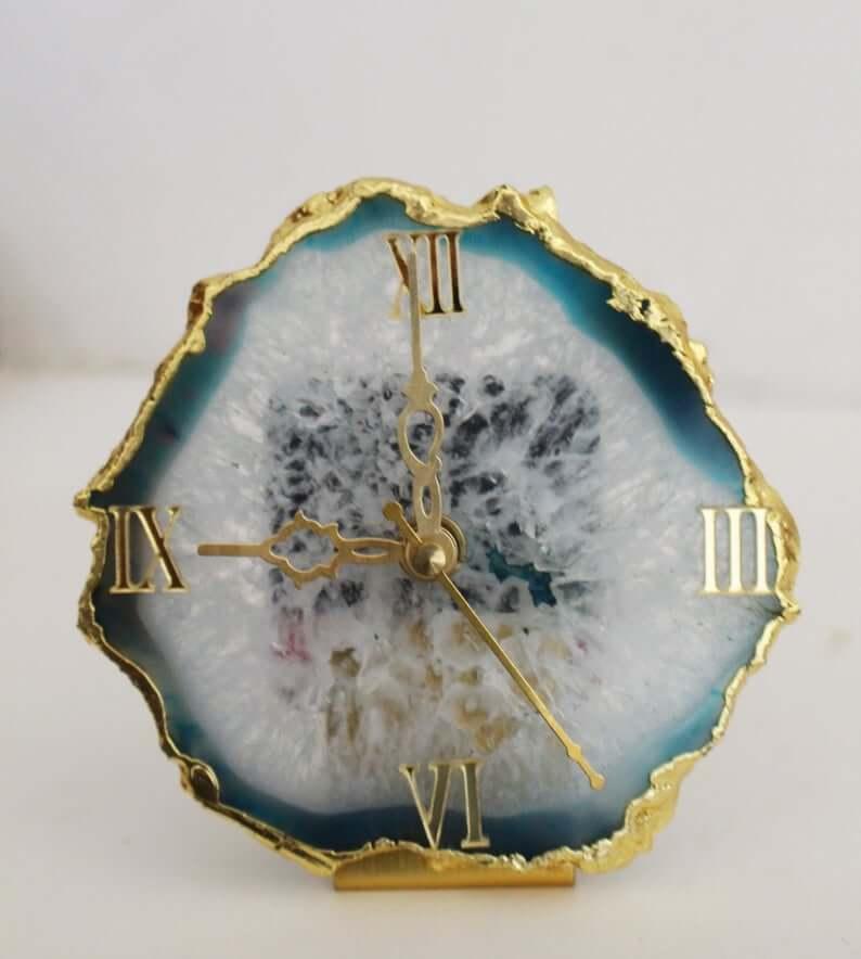 Aqua agate crystal clock