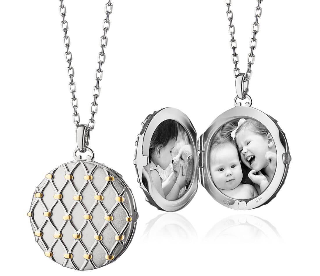 Basket woven locket necklace