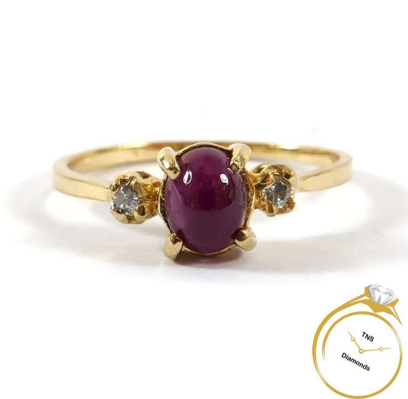 Cabochon cut ruby ring for July birthstone