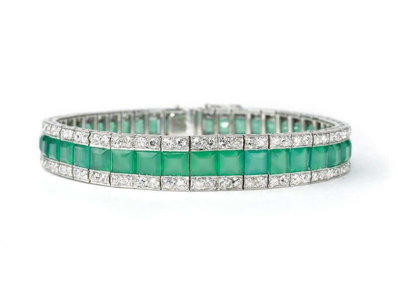 Chrysoprase diamond bracelet