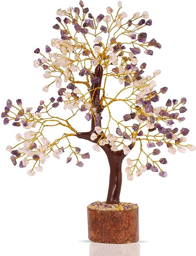Citrine and amethyst bonsai money tree