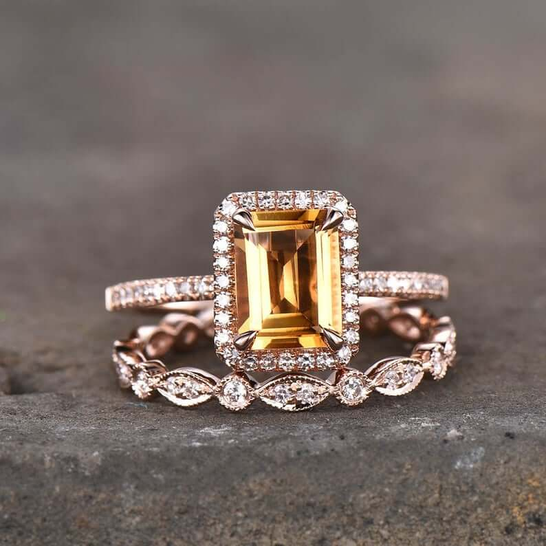 Citrine wedding ring
