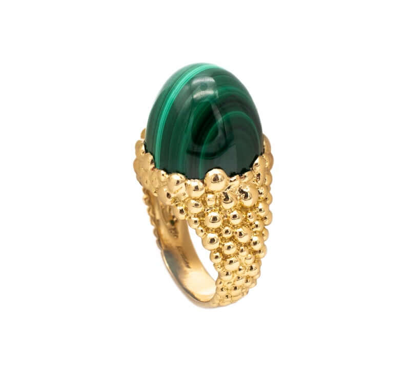 Cocktail ring with malachite stone