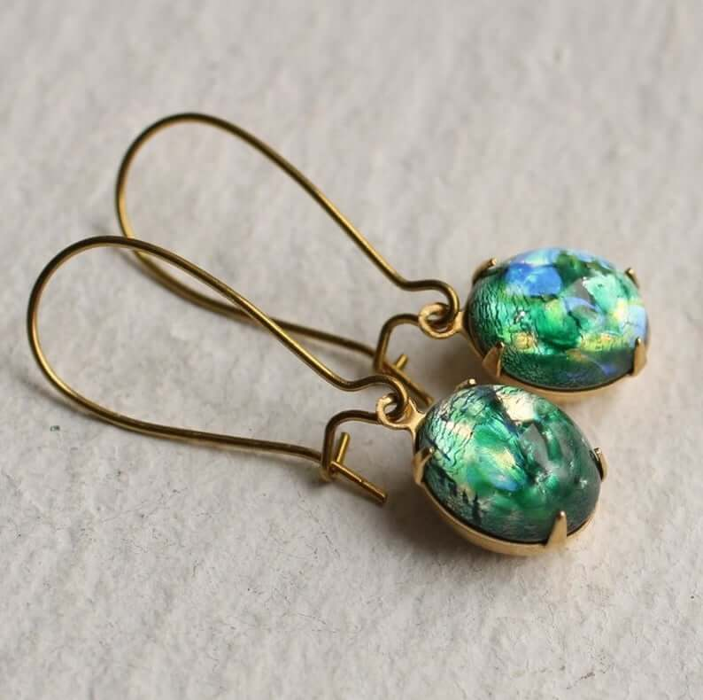 Emerald opal earrings