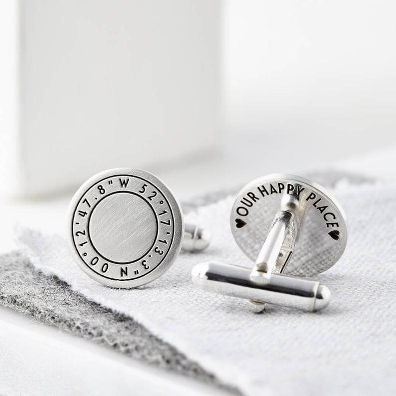 Engraved coordinate cufflinks