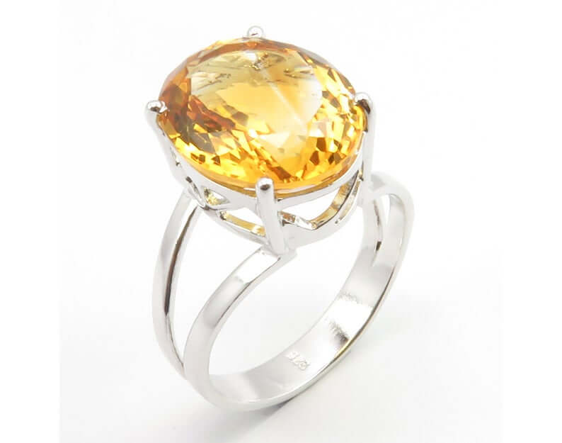 Four pronged citrine ring