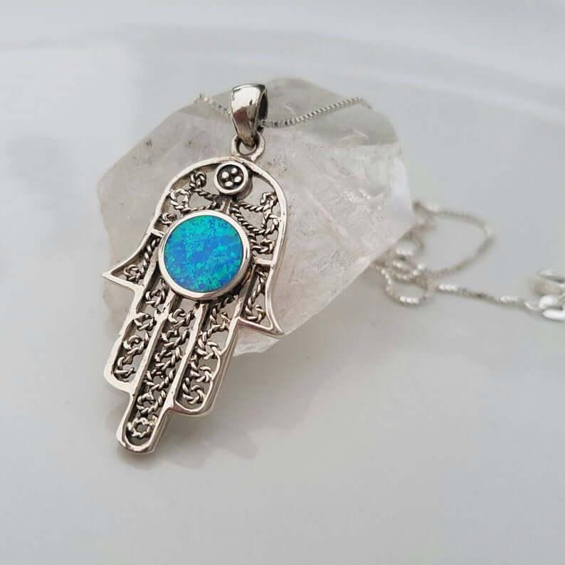Hamsa opal pendant