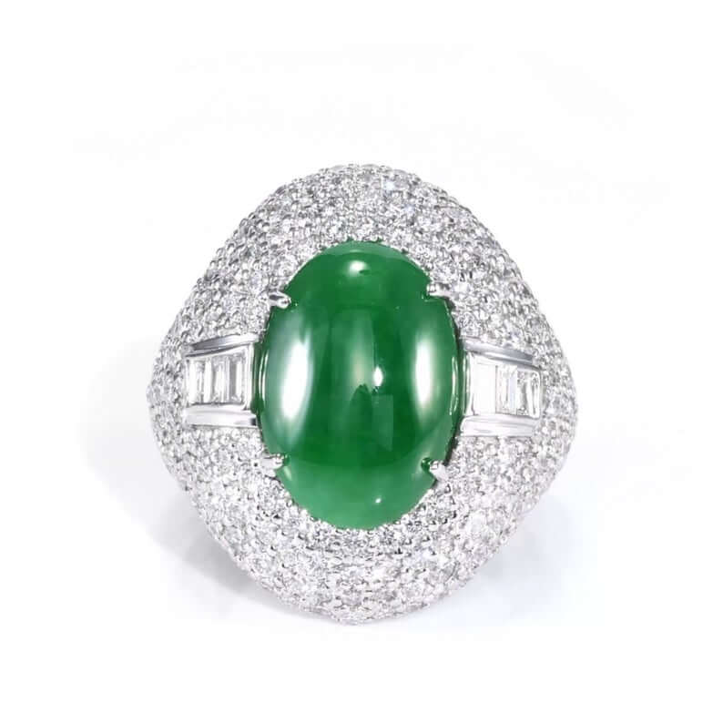 Imperial jadeite white gold ring