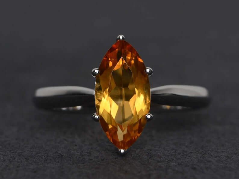 Marquis cut citrine ring