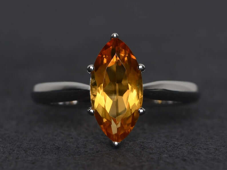 Marquis cut citrine ring