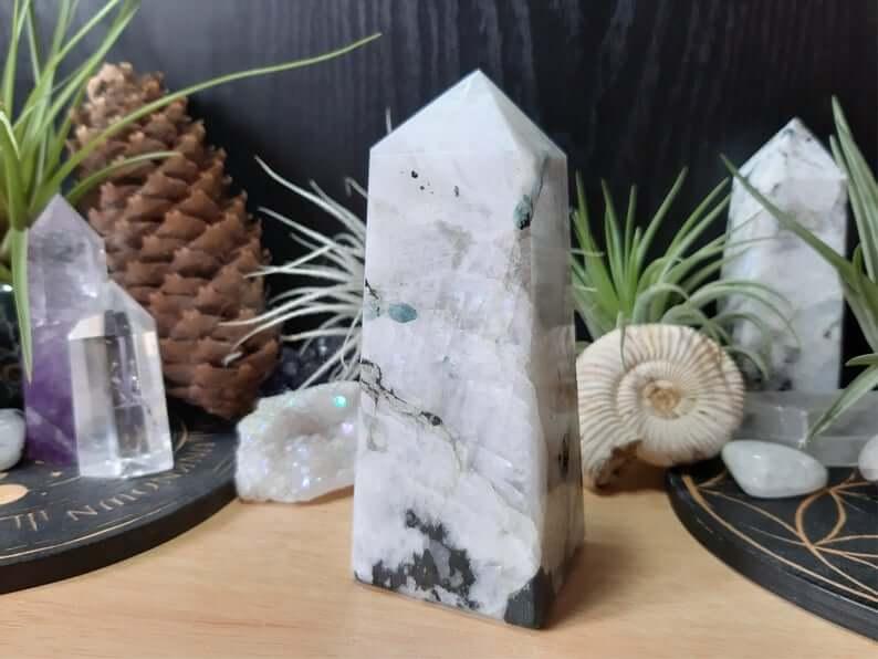 Moonstone crystal obelisk