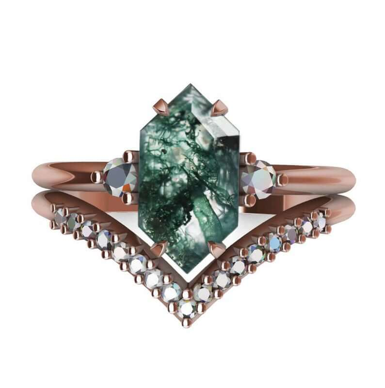 Moss agate ring