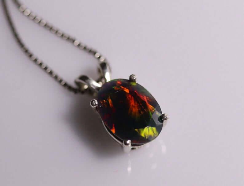 Natural black opal pendant