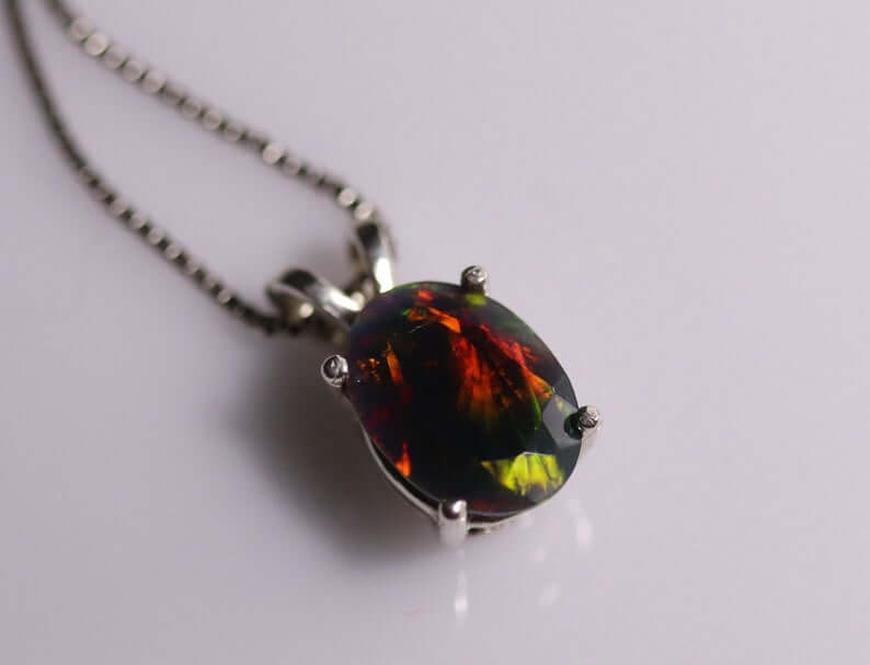 Natural black opal pendant