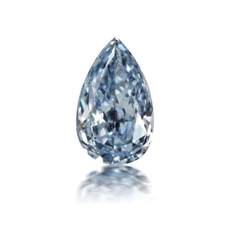 Natural pear shaped blue diamond