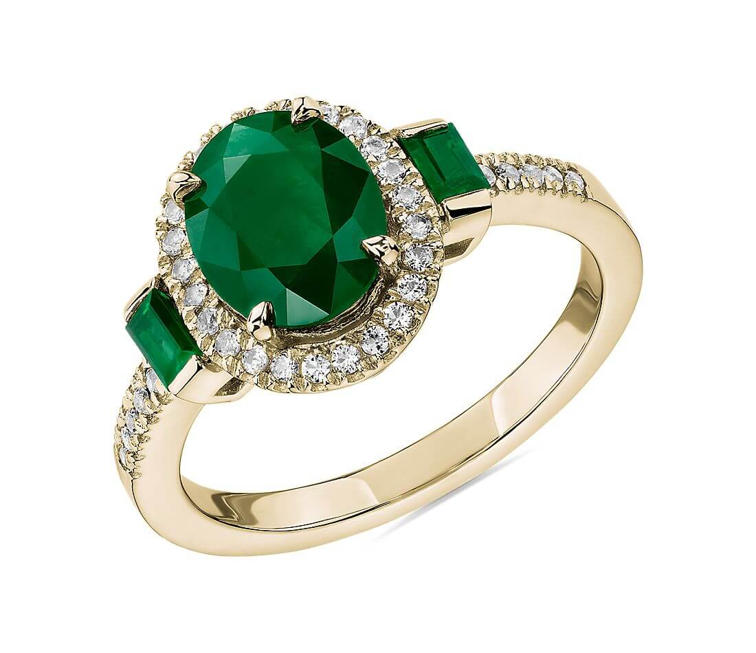 Oval and baguette emerald ring