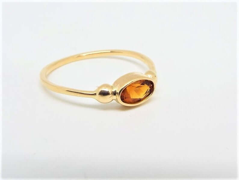 Oval fire citrine ring