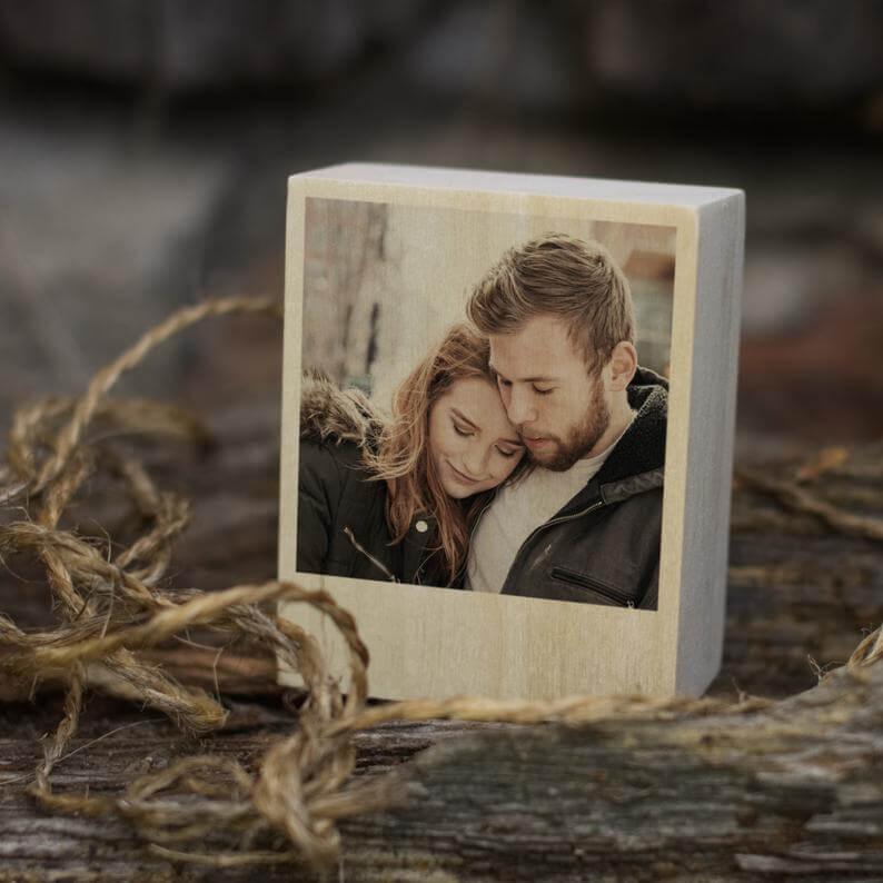 Photo on wood slice