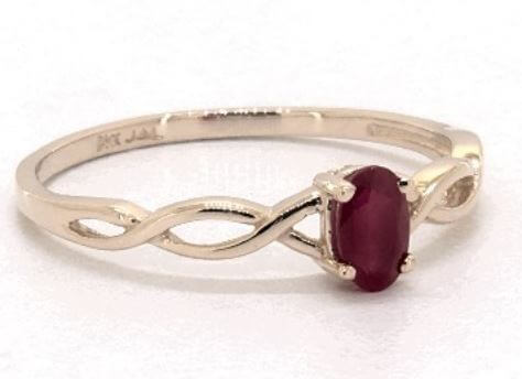 Yellow gold infinity ruby ring