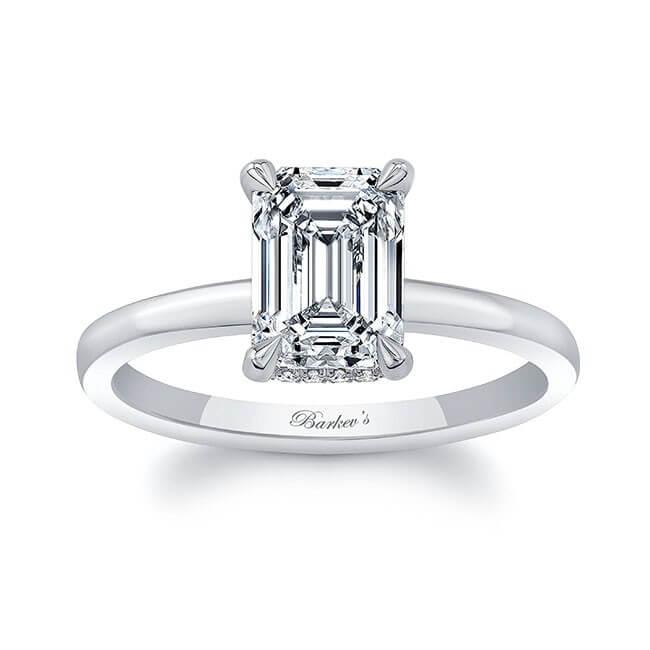 Clean Pronged Emerald Cut Diamond Engagement Ring