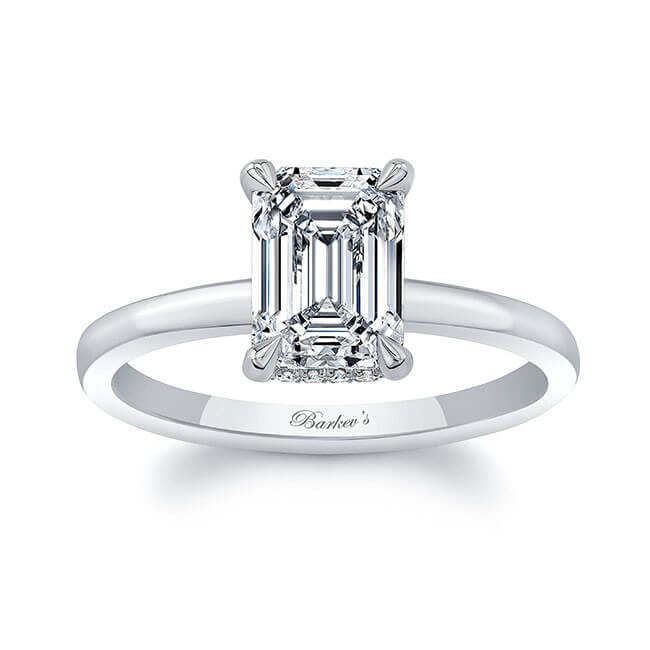 Clean Pronged Emerald Cut Diamond Engagement Ring