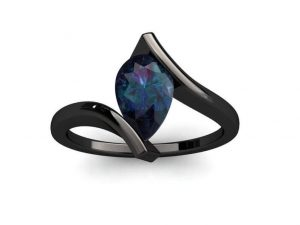 Alexandrite ring with bypass shank