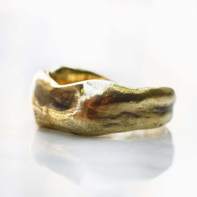 asymmetrical-hammered-gold-ring-etsy