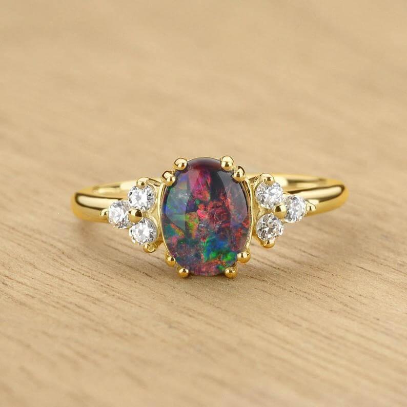 Australian black opal ring