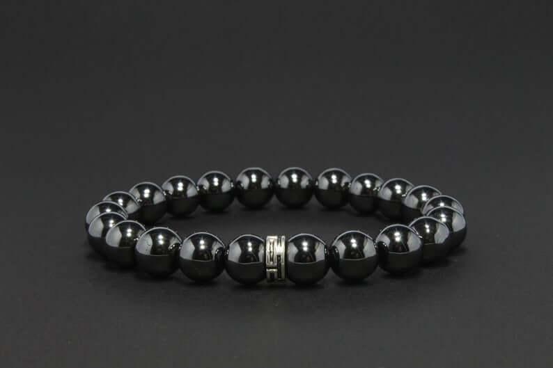 Beaded black hematite bracelet